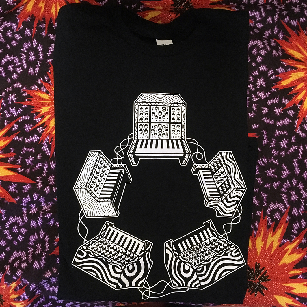 5 synths tee shirt large