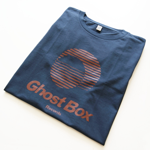 Ghost Box T-shirt (blue-grey & orange)