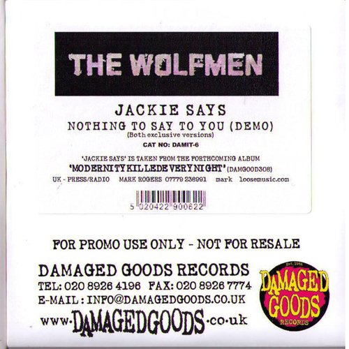The Wolfmen - Wolfmen - Jackie Says CDR Promo