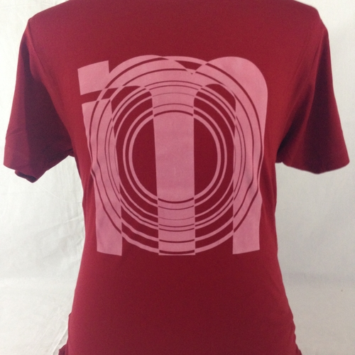 Super cool dark red IM library logo tee