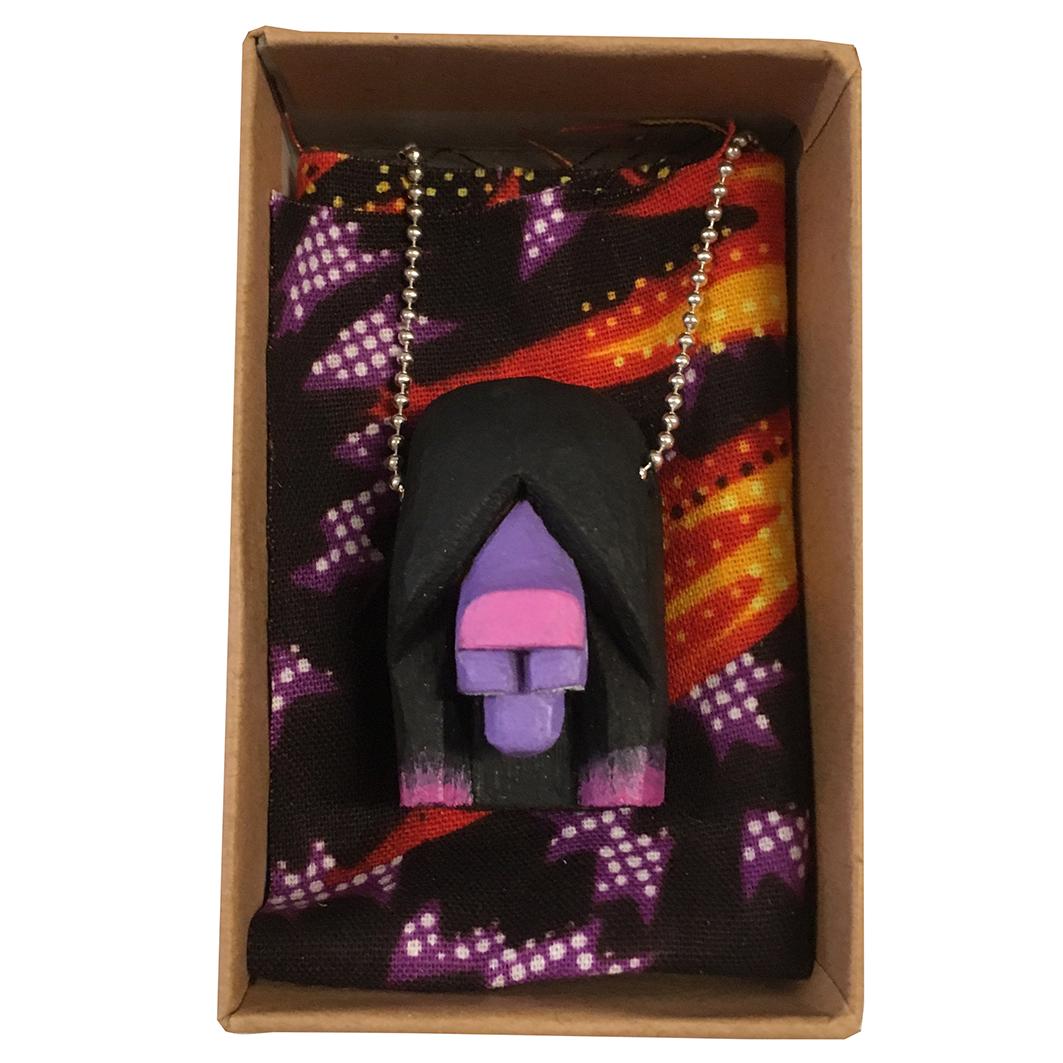 Violet Dog carved wooden pendant