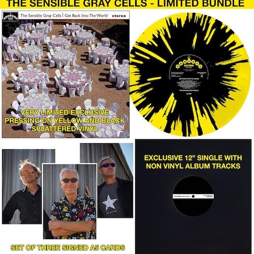 """The Sensible Gray Cells - Get Back Into The World - BUNDLE (SPLATTER VINYL LP+SIGNED CARDS+12"""")"""