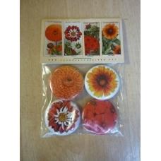 Flowers. set of four button badges