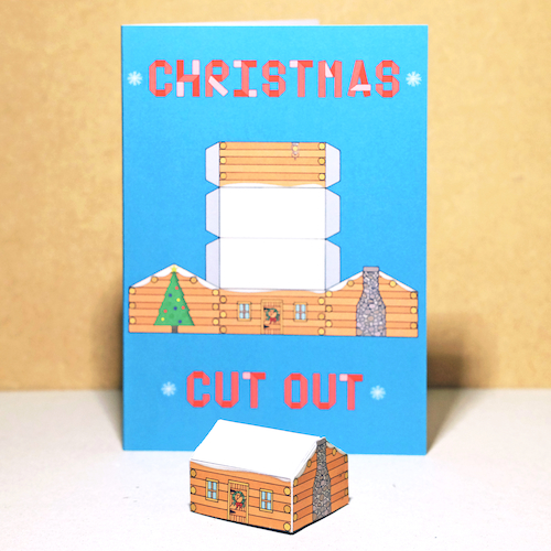 3-D Christmas Cabin Card by Ben Langworthy