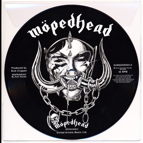 "Johnny Moped - Motorhead - 7"" pic disc (BLACK/WHITE VERSION)"