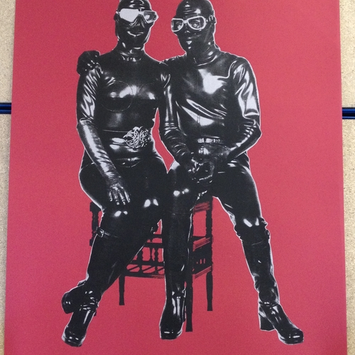 Red Atomage poster. A one-off, black / silver