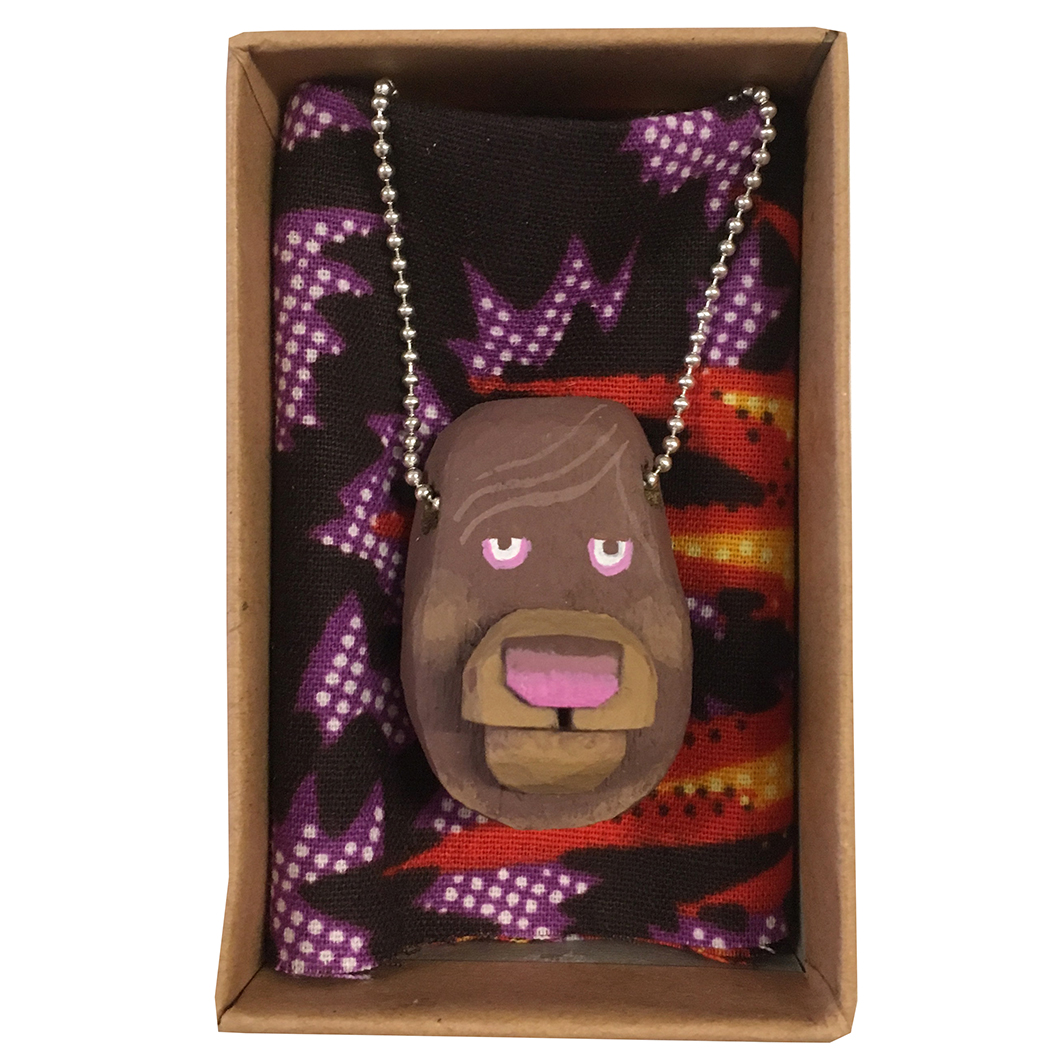 Bear Dog carved wooden pendant