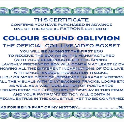Colour Sound Oblivion - Coil's Official Live Video boxset - Advance Patrons Edition