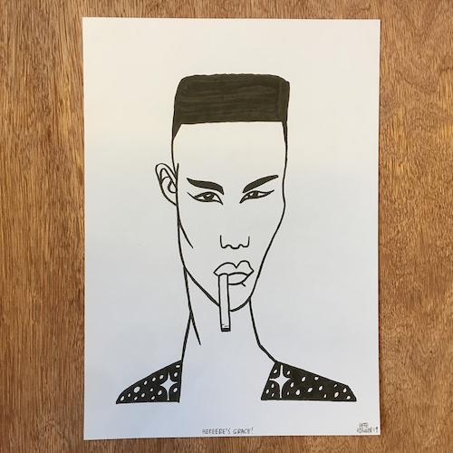 Grace Jones ink drawing
