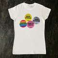 Home Counties Womens White Tee - multisticker design