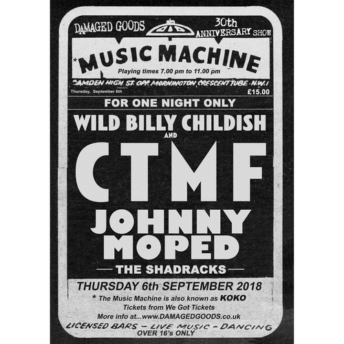 CTMF, Johnny Moped, The Shadracks - 30th Anniversary Limited Edition gig poster