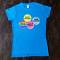 Home Counties - Womens Sapphire Tee - multi sticker design