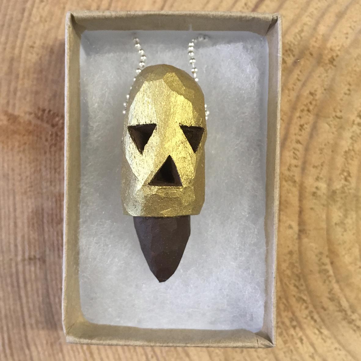 Gold Skull 2 wooden pendant
