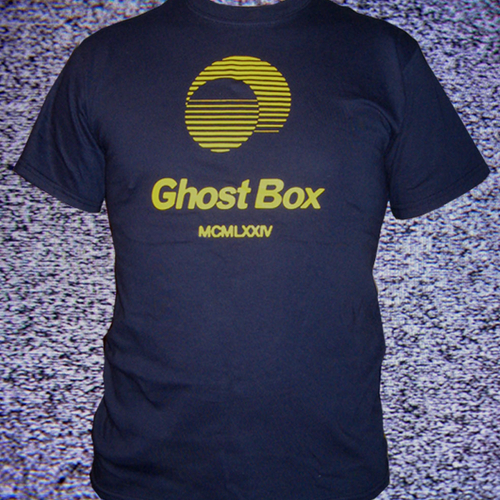 Ghost Box Heavyweight cotton T-shirt. Yellow on navy