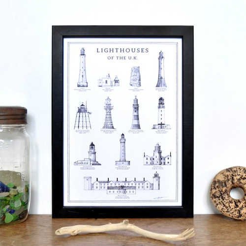 Lighthouses of the UK A4 Print