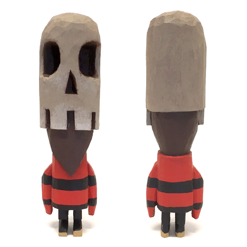 Skull Stripe carved wooden figure