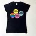 Home Counties - Womens Black Tee -multi sticker design