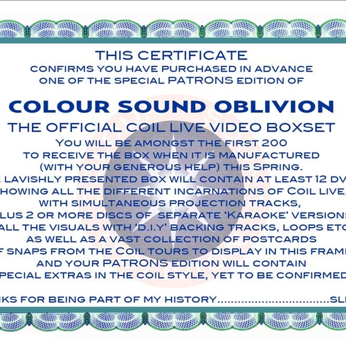 Colour Sound Oblivion - Coil's Official Live Video boxset - Advance Patrons Edition